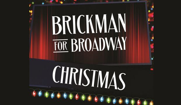 """Text """"Brickman for Broadway Christmas"""" over red theater curtains, framed by Christmas lights"""